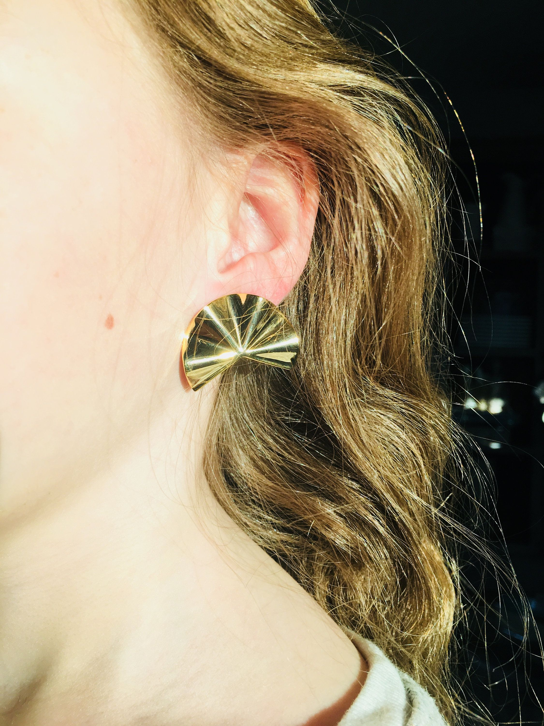 Gold stud earring gift for her under 45 Nickel Free studs gold plated earring