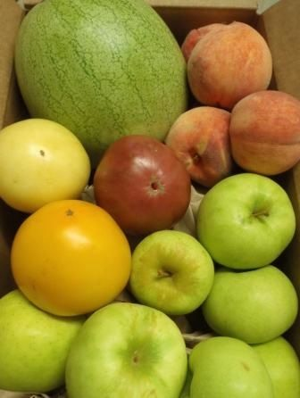 Week of August 5 - The popular Fruit-only Box is back with a twist this week! Box includes: (8) Apples; (4) Peaches; (1) Ice Box Watermelon and 1.5# Heirloom Tomatoes (they are a fruit!). All selections are from Alabama and Georgia.