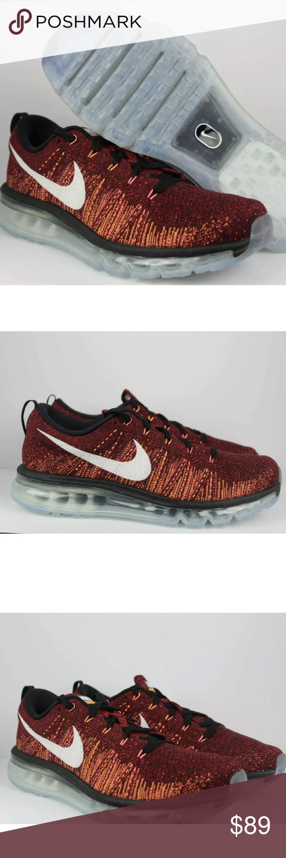 Nike Flyknit Air Max Red Men's Running Sneakers NWT. No box