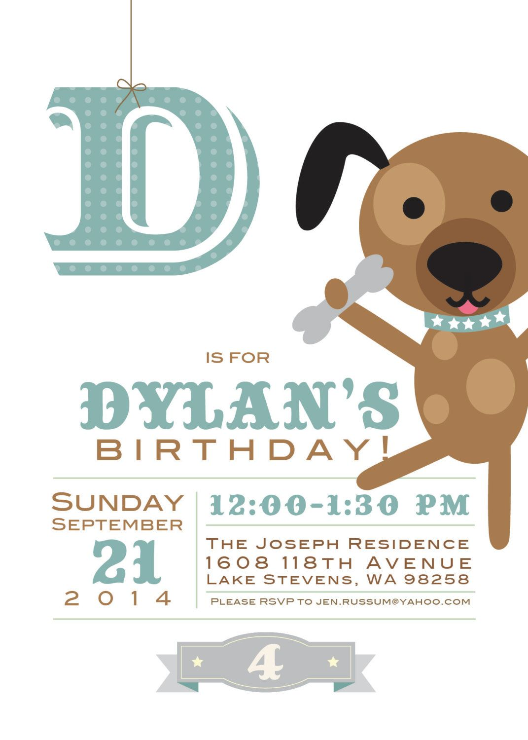 Doggie Themed Childs Birthday Party Invitation For Boy Or Girl