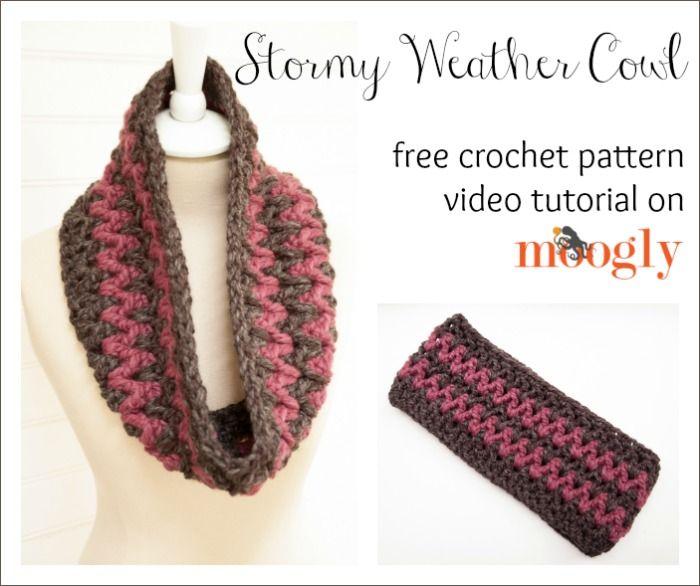 Stormy Weather Cowl: #Crochet Video Tutorial on Moogly! | Cuellos ...