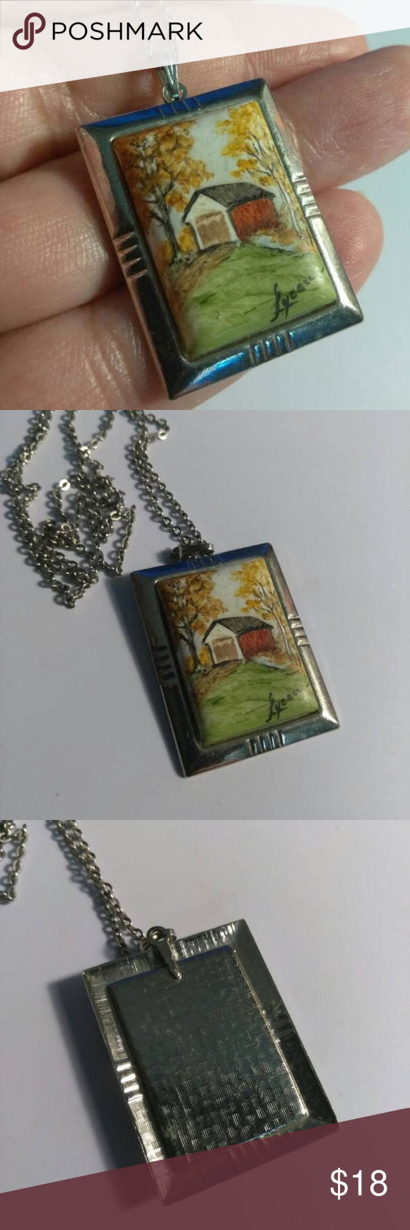 Red Barn Silvertone Necklace Womens Jewelry Necklace