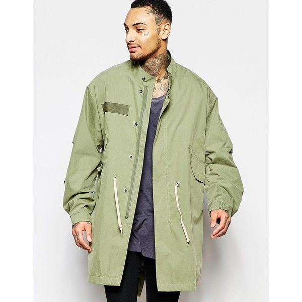 ASOS Lightweight Parka Jacket In Khaki (€76) ❤ liked on Polyvore ...