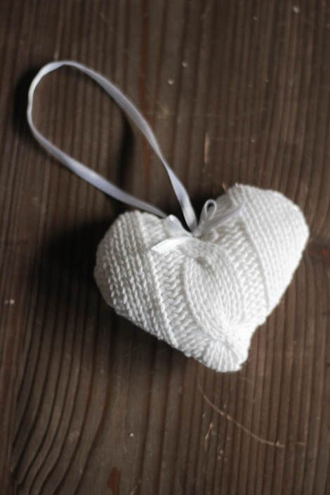Diy heart Christmas ornaments, made from a recycled sweater.