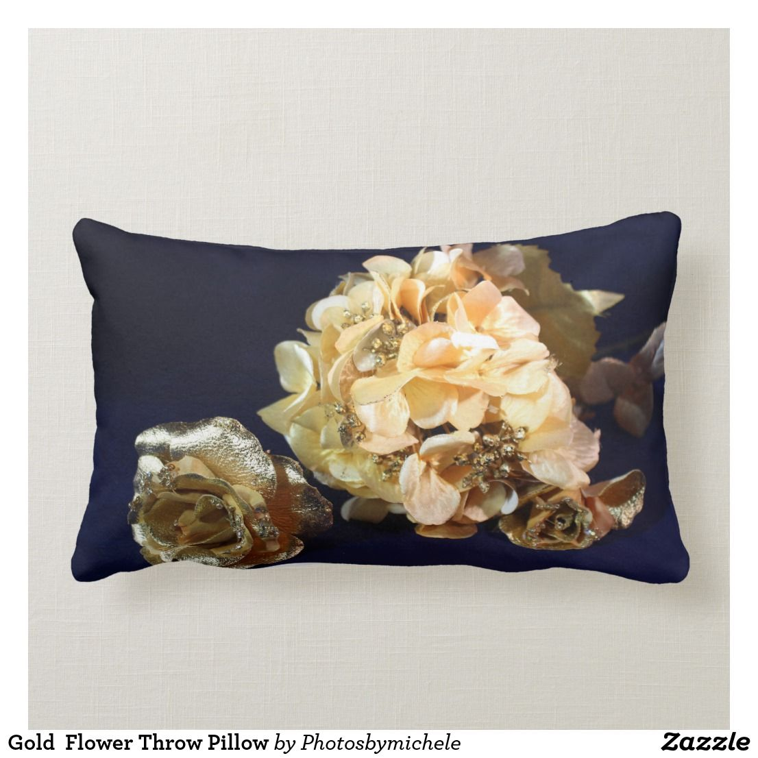 Gold Flower Throw Pillow Flower Throw Pillows Throw Pillows