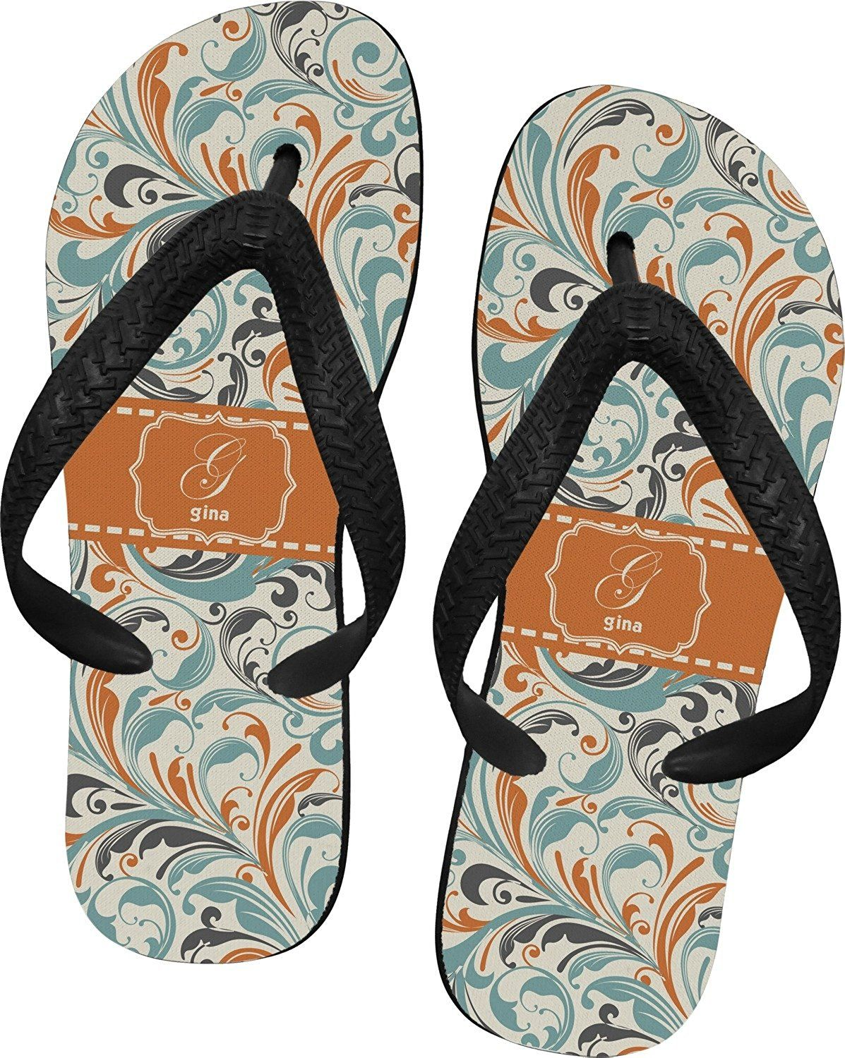 2957b4cf7ea06 Orange and Blue Leafy Swirls Flip Flops -- Find out more about the ...