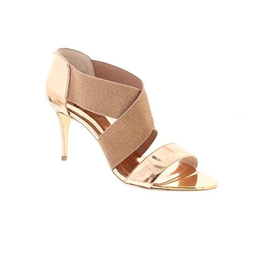 c7e32cd218514d Stand tall with these Leniya leather mid heel sandals in rose gold from Ted  Baker. Leather upper in combination with wide elastic cross-over vamp rose  gold ...