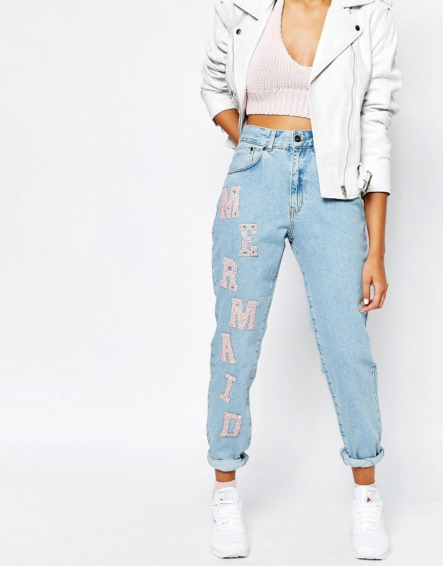 The+Ragged+Priest+Mom+Jeans+With+Mermaid+Patches