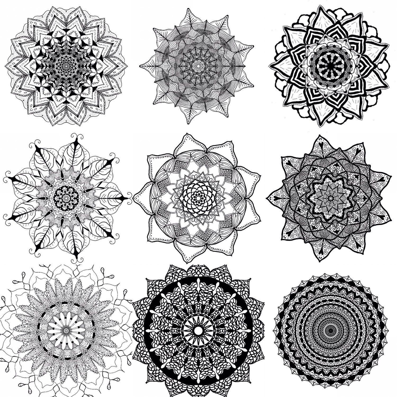 Digital Download Printable Mandala Coloring Page Art