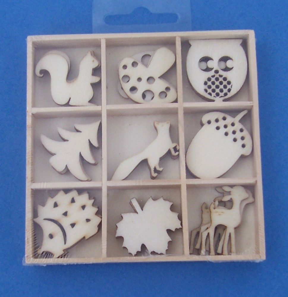 Wooden Box of 9 different plywood woodland craft shapes, trees, leaves, animals