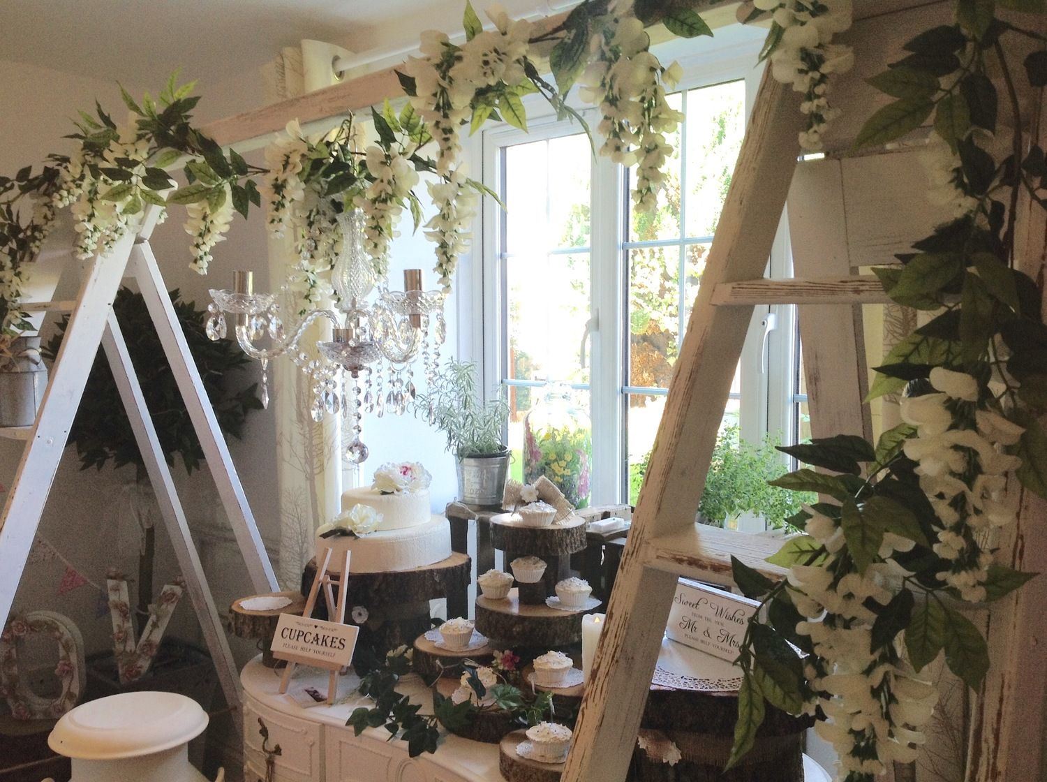Wedding And Event Hire Yeovil Diy Arch Arbour Country Chic With Vintage Ladders Chandelier