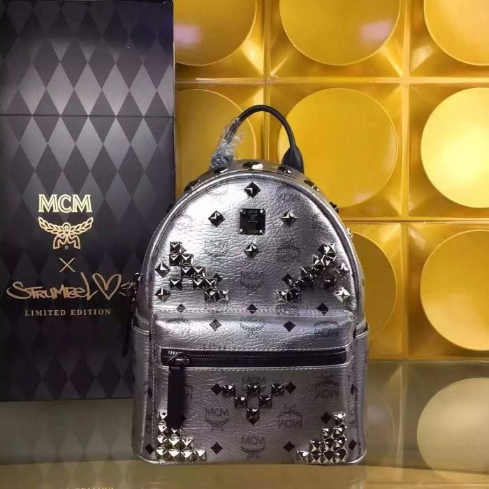 MCM Small Stark M Studded Backpack In Silver