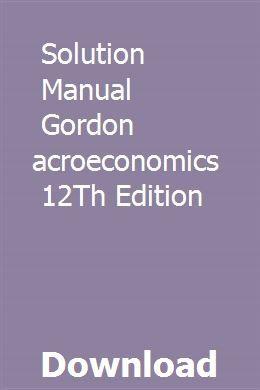 macroeconomics gordon 12th edition pdf download