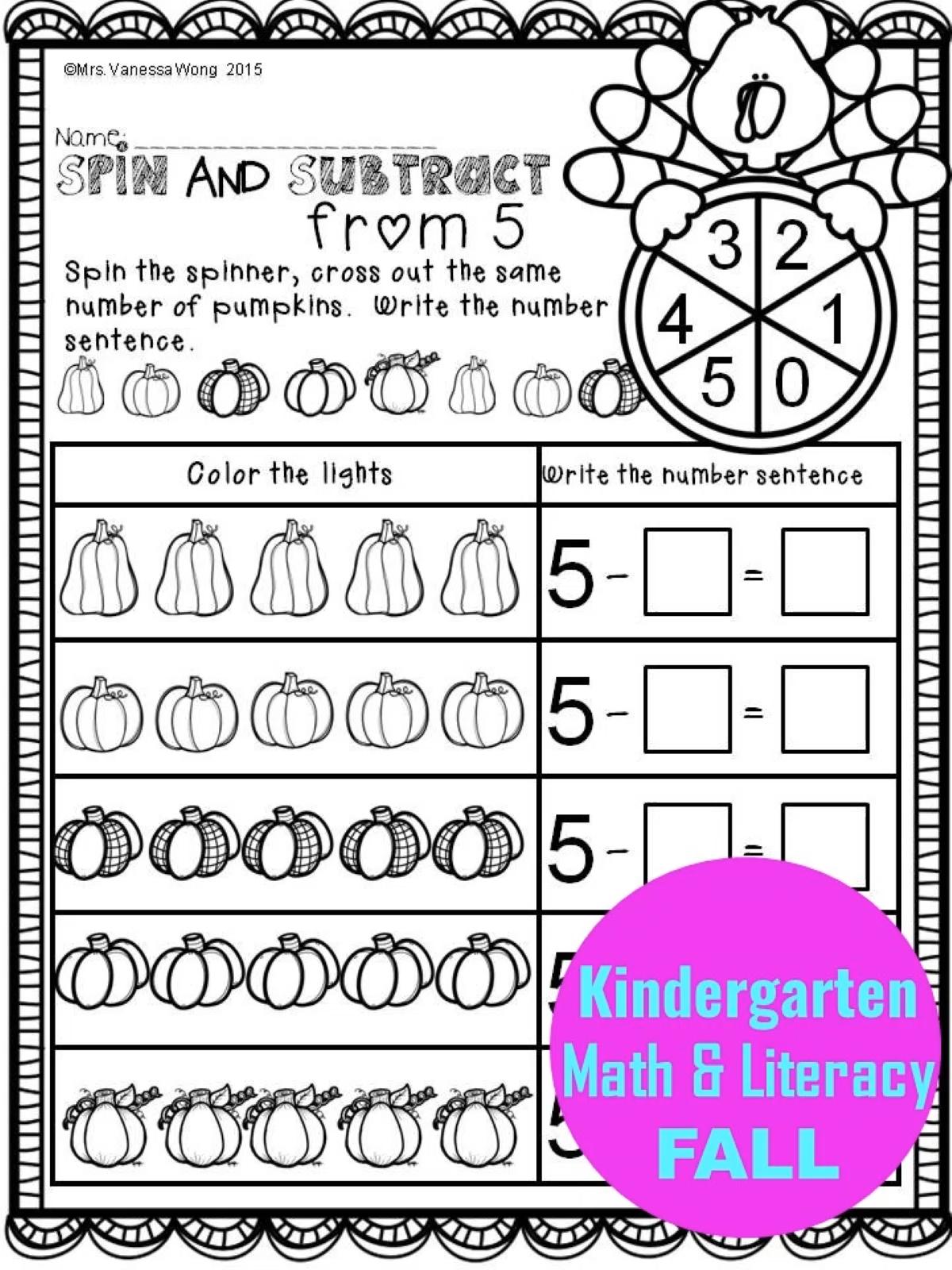 Fall Activities For Kindergarten And Homeschool Math And Literacy No Prep Printables Video Kindergarten Math First Grade Math Worksheets Kindergarten Math Activities [ 1600 x 1200 Pixel ]