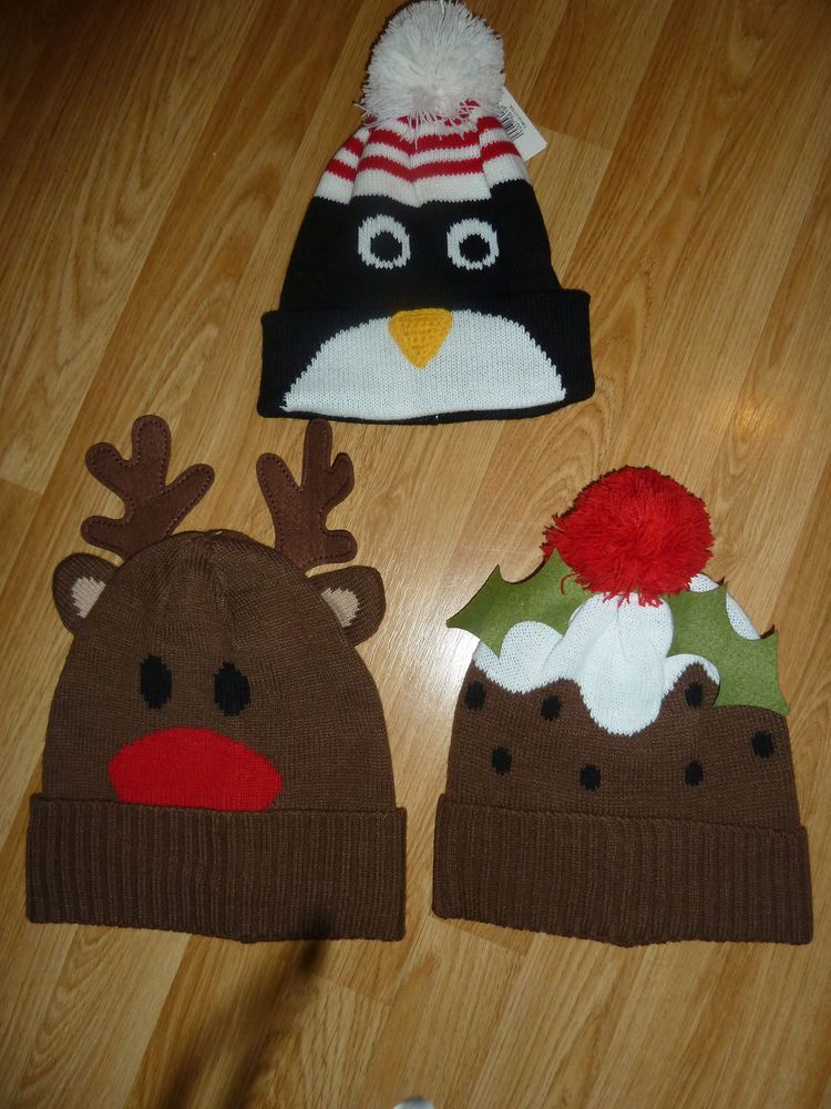 Novelty Knitted Woolly Christmas Beanie Hat Warm Winter
