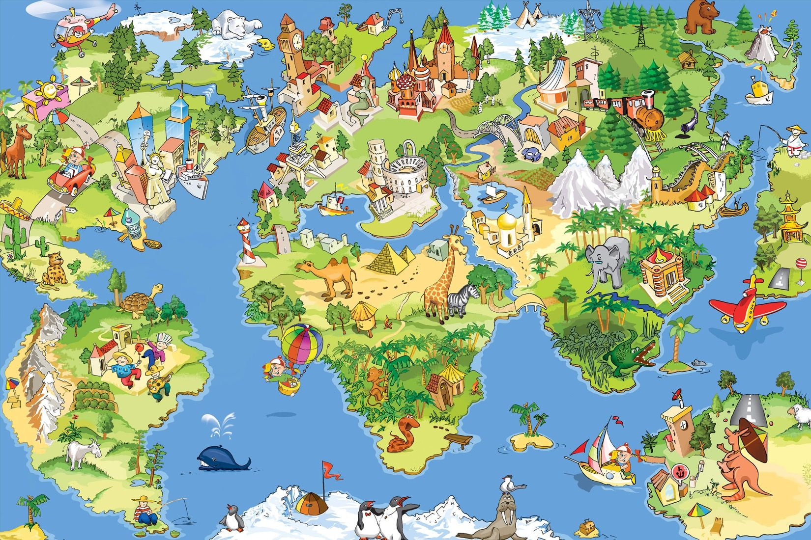 Animal map wallpaper wall mural muralswallpaper animal map wallpaper mural custom made to suit your wall size by the uks no gumiabroncs Images