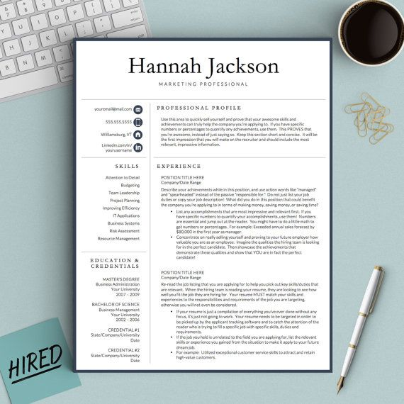 Professional Resume Template For Word  Pages By Thetemplatestudio