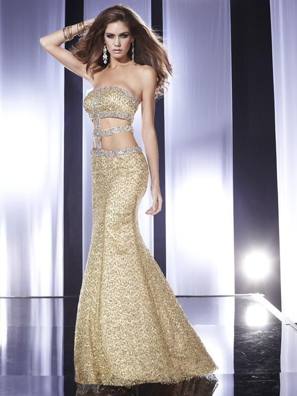 Vestidos largos de noche color dorado