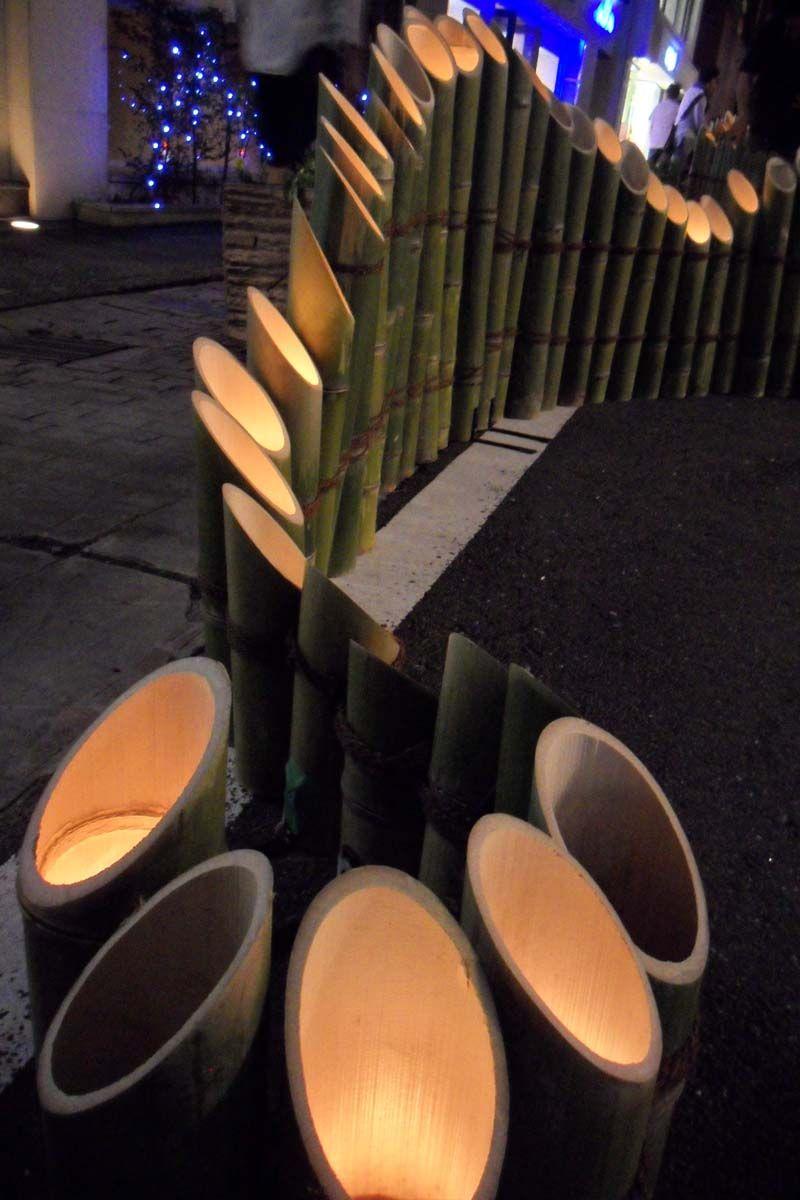 Dicke Bambusrohre Mit Telichtern Oder Solarlichter Fur Drausen Oder