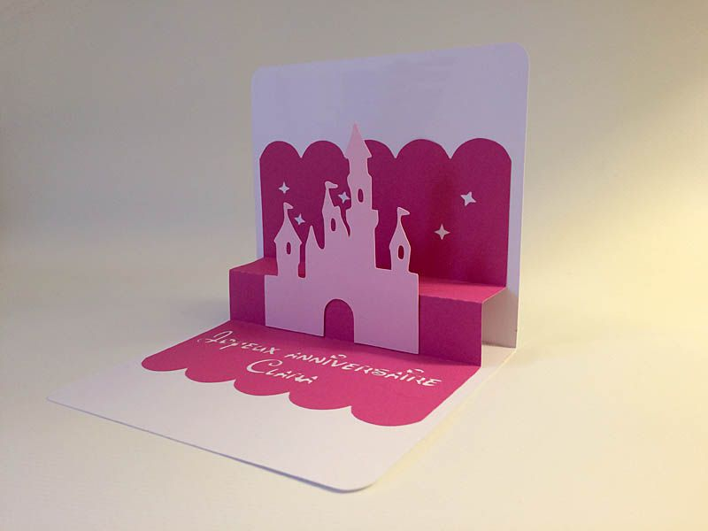Carte pop up ch teau de princesse reine des neiges - Carte pop up a fabriquer ...