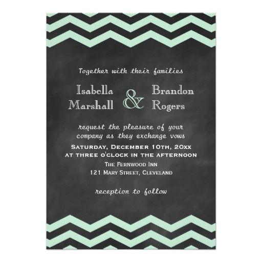 Chevrons on Chalkboard Wedding Invitation in Mint