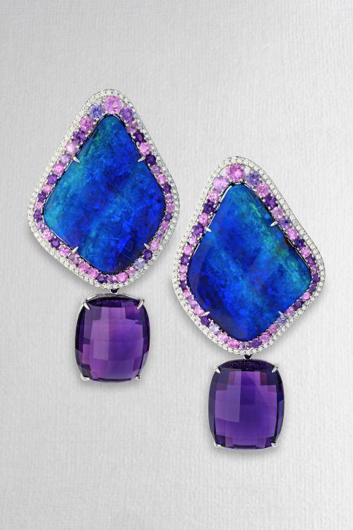 lovejewelry: Margo Mckinney Opal and Amethyst Earrings via Pinterest