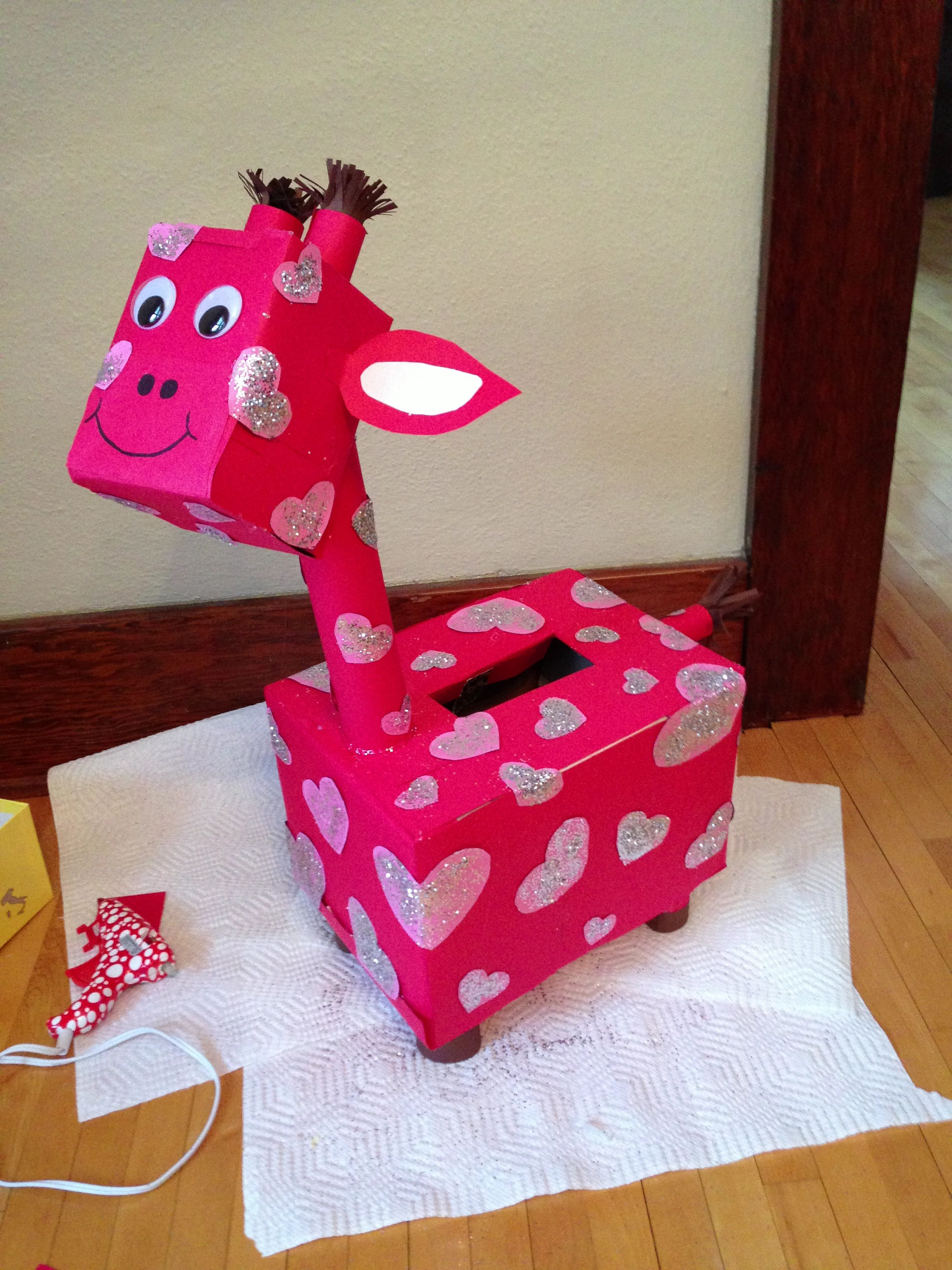 Giraffe Valentine S Day Box Valentine Day Boxes Kids Valentine Boxes Valentine Card Box