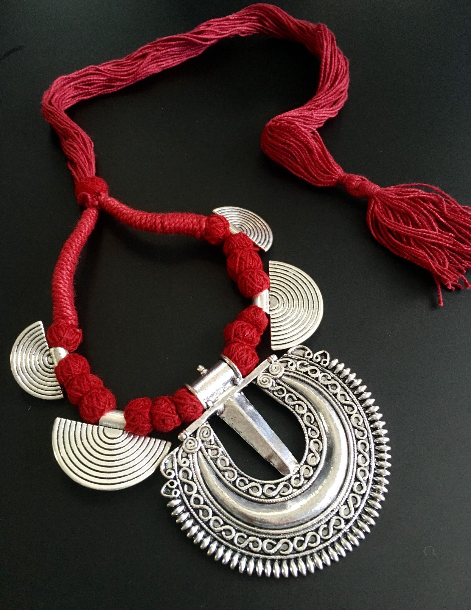 Well known unique oxidized necklace in ethnic eco friendly red thread. this  KI52