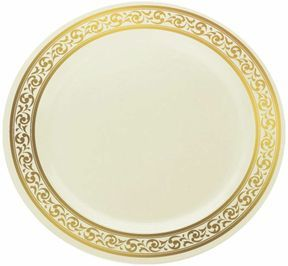 Stunning Plastic Ivory With Gold Brimmed 9\  Dinner Plate - 120 Plastic Plates  sc 1 st  Pinterest : plastic dinnerware for wedding reception - pezcame.com