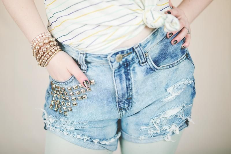 DIY jeans refashion: DIY Distressed  Studded High Waisted Shorts