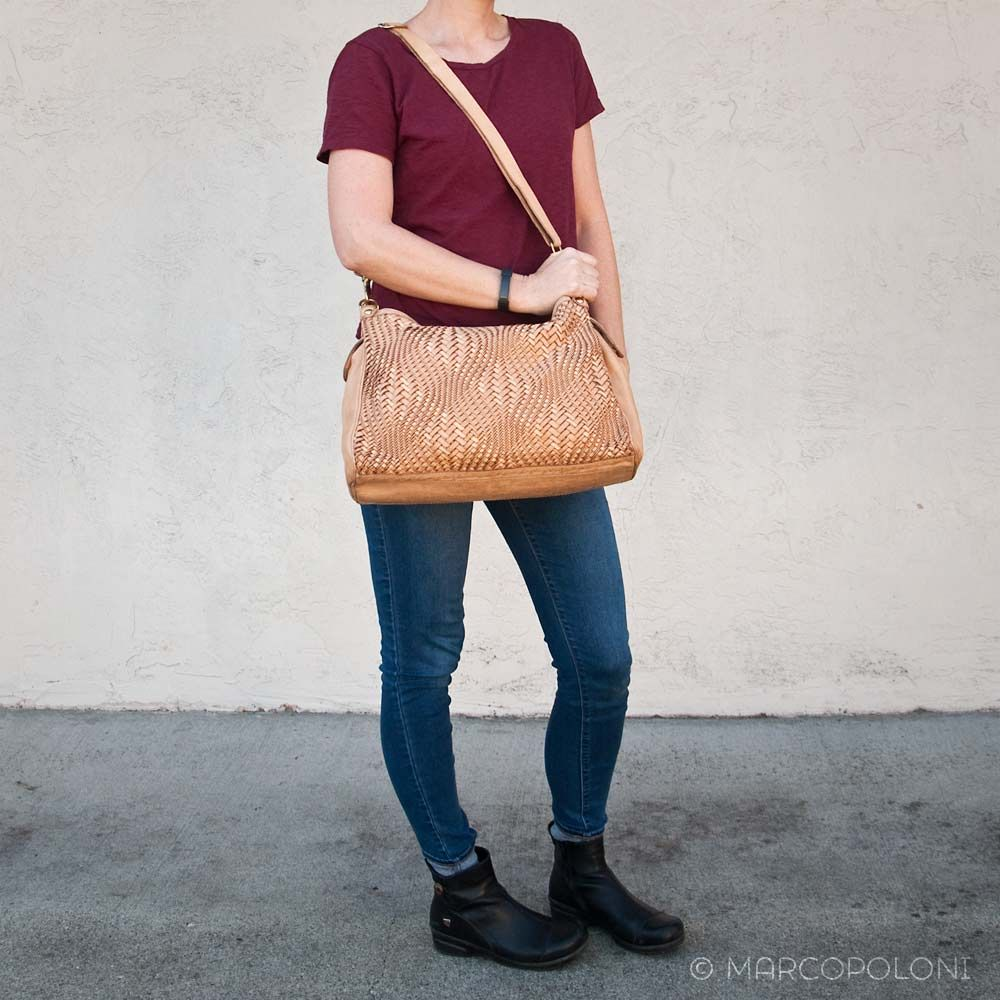 c158c1123 EDERA - Large Leather Hobo in Optical Weave by Campomaggi | Marcopoloni
