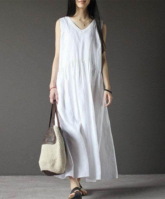 54ab336002 White sleeveless linen dress-V neck linen dress-women sundress-loose dress-maxi  dress-plus size dres