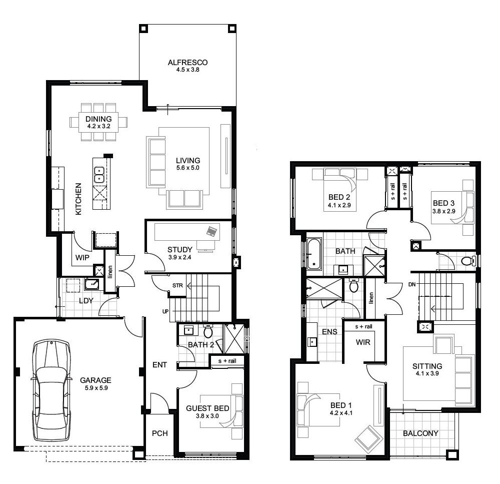 Two Storey House Plans Two Storey House Plans Four Bedroom House Plans 4 Bedroom House Plans