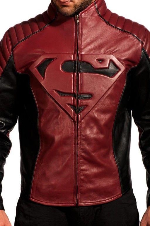 Superman Smallville Maroon Black Leather Jacket Estilo Masculino Jaqueta Roupas