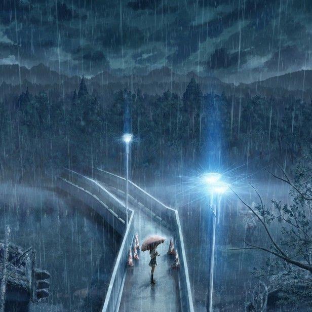 Rainy Bridge Rain Wallpapers Standing In The Rain Anime Scenery
