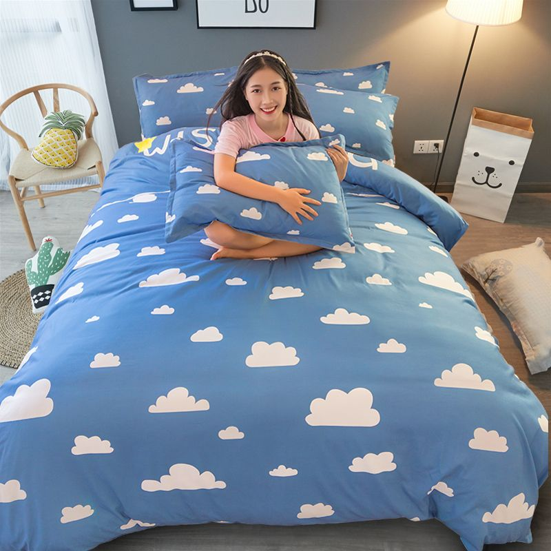 Blue White Duvet Quilt Cover Queen King Twin Single Double Cloud Brief Bedding Set Boys Girls Kids Bedspreads Hotel Bedding Sets Blue Bedding Sets Blue Bedding
