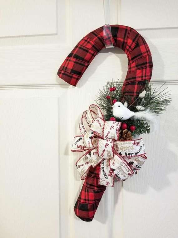Photo of Candy Cane Wreath Winter Door Hanger Front Door Décor Christmas Decoration Red Buffalo Plaid White Bird Nature Inspired Twisted Oak Boutique