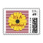 Black Eyed Susan on Berry Red Stripes Postage Stamps - Stamps