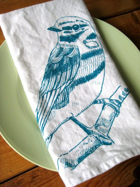 Cloth Napkins - Screen Printed Cotton Cloth Napkins - Eco Friendly Dinner Napkins - Woodland Bird - #clothnapkins