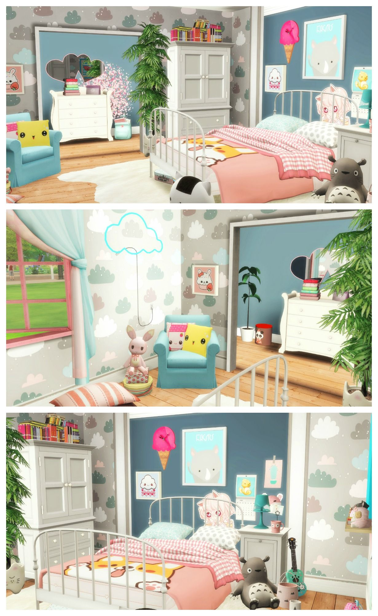 Sims 4 kawaii bedroom room build custom content list