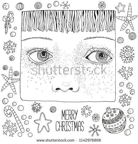 Hand drawn face. Christmas sketch. Cute girl. Winter, snow ...