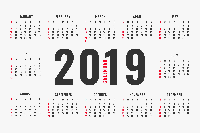 Calendario Vectorizado.Calendario 2019 Free Vector Art 1795 Free Downloads