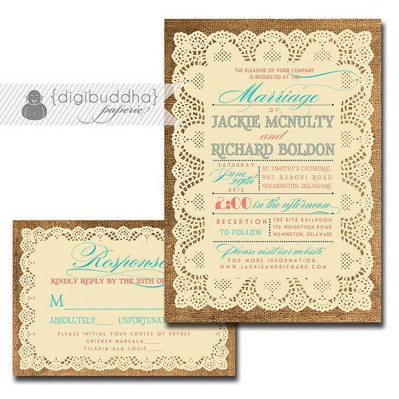 Lace Burlap Wedding Invitation Response Card 2 Piece Suite Coral