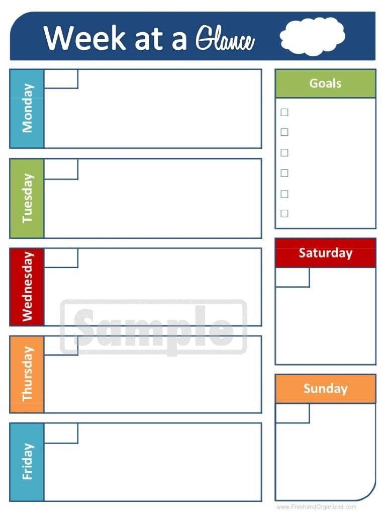 At A Glance Calendar Template At A Glance Calendar Template