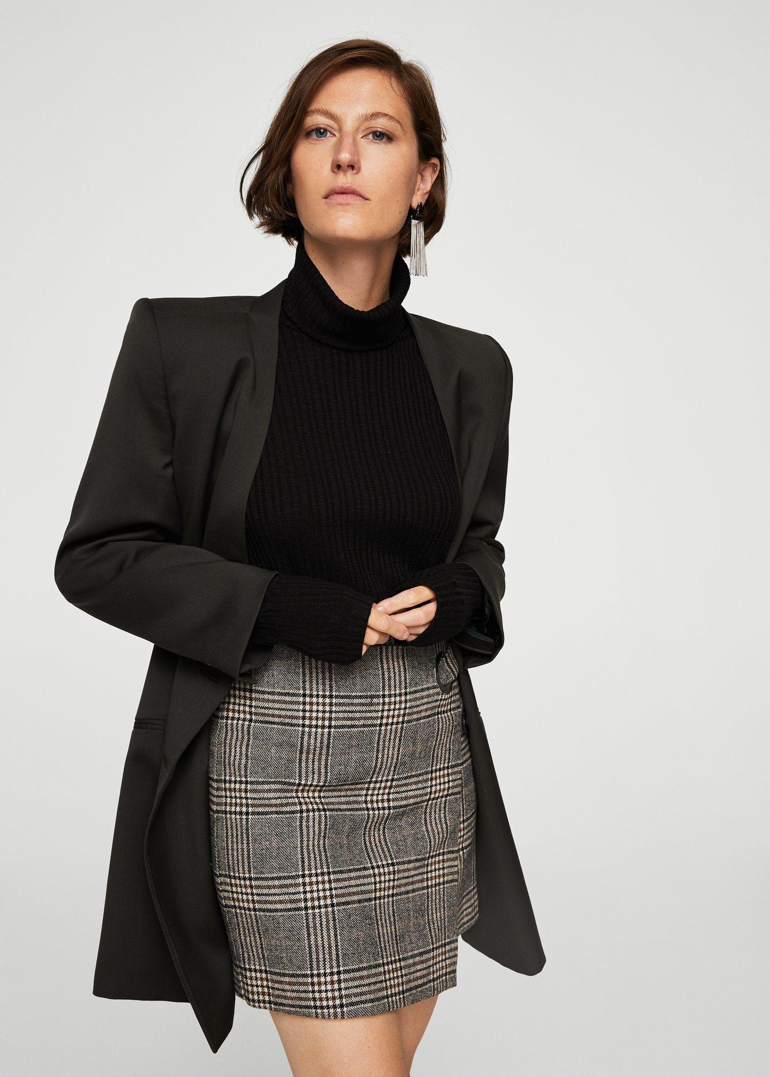 Jupe à carreaux en laine – Femme