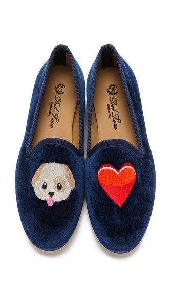 For the Fashionista: Del Toro Puppy Love Emoji Embroidered Loafers