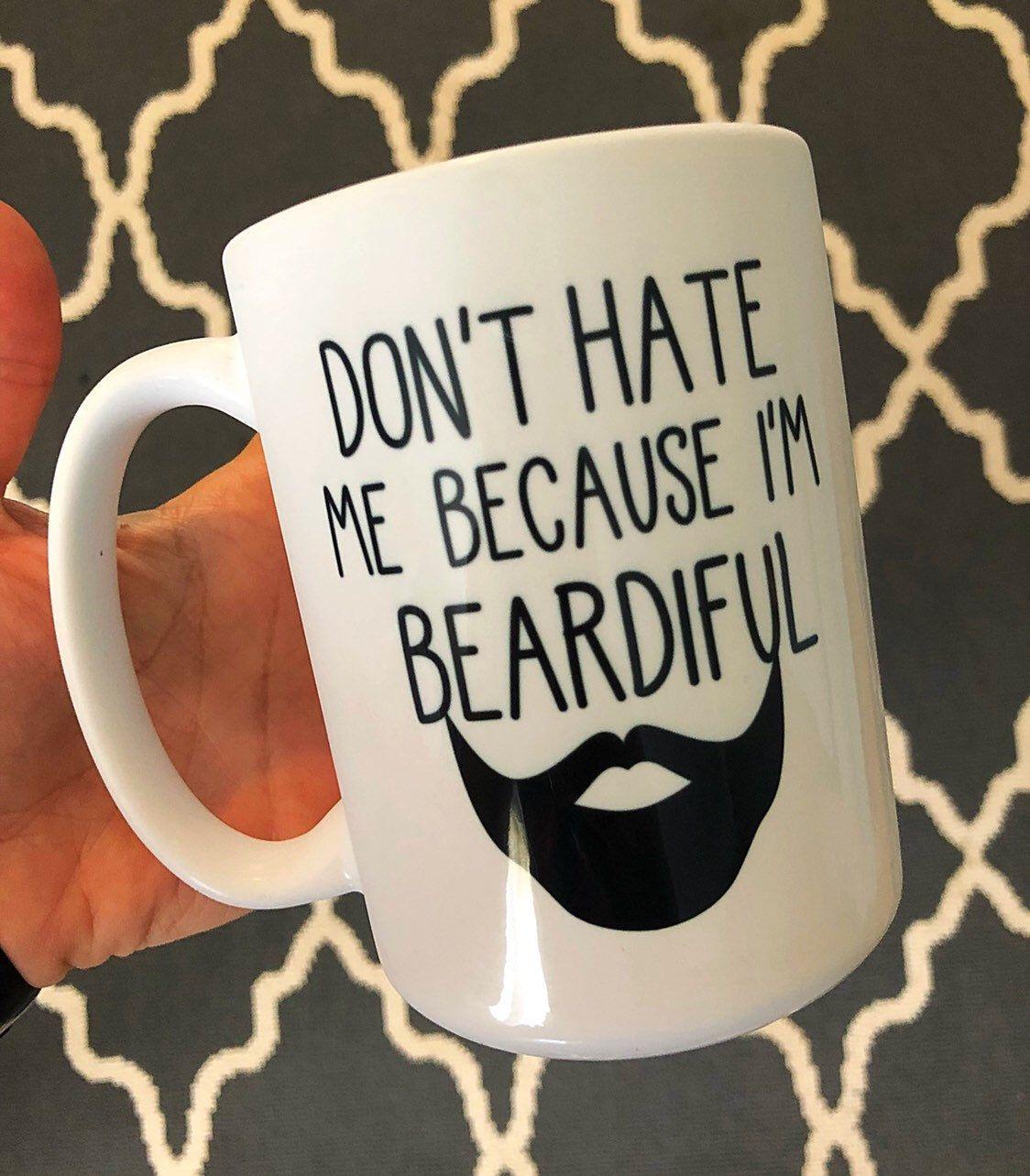 Photo of Hassen Sie mich nicht, weil ich bärtiger Becher / bärtiger Mann-Becher / schöner Bart / männlich / lustiges Bart-Geschenk für ihn / schwarzer Bart / niedlicher Mann-Becher bin