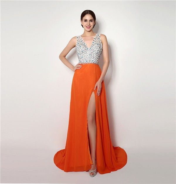 Flowing Illusion Neckline Cap Sleeve Backless Long Orange Chiffon ...