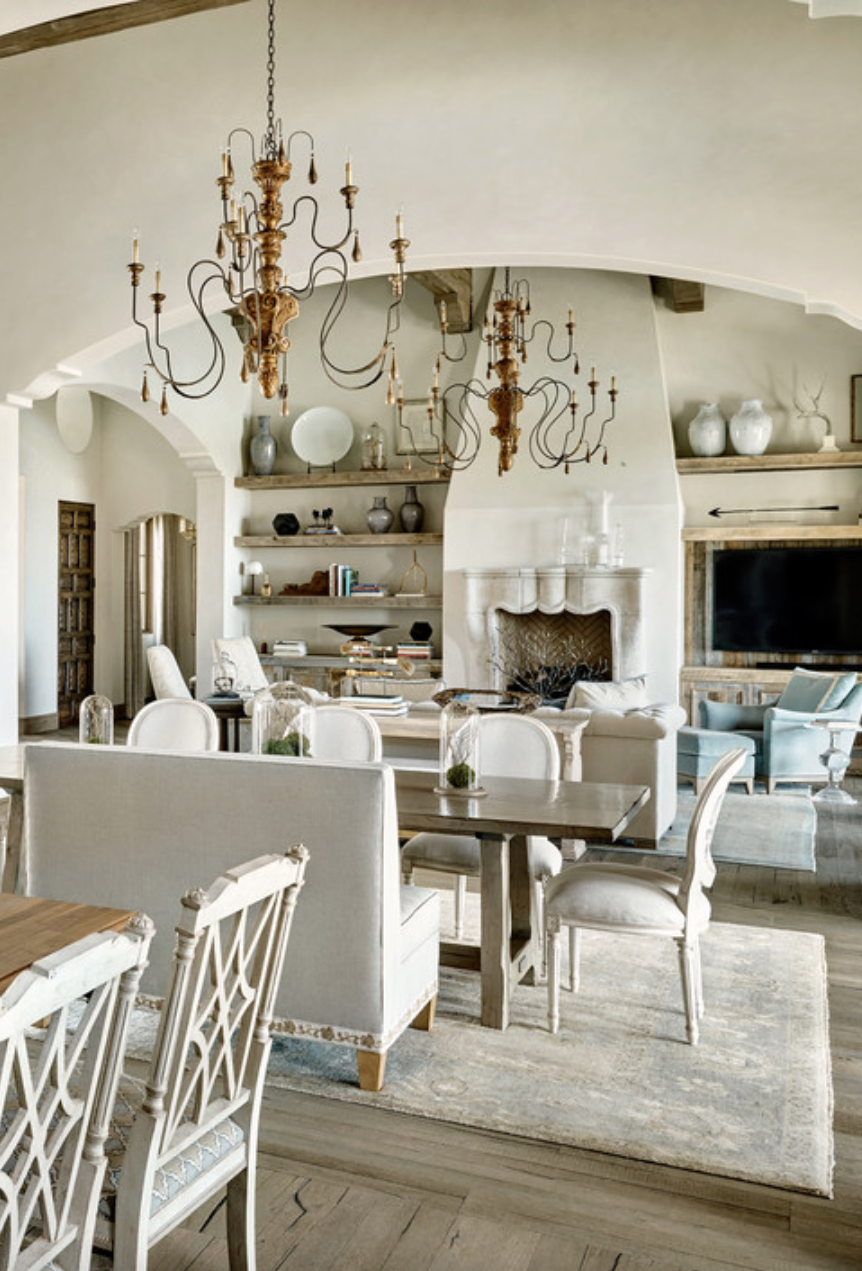Dining family area love the chandeliers white design for French country beach house