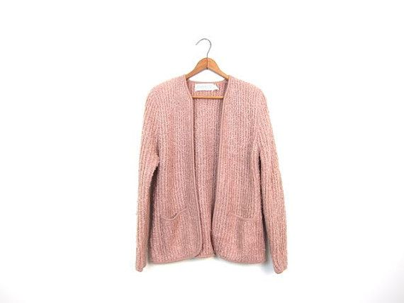 949845d0a 80s NUDE Pink Nubby Sweater Cardigan Short Textured Ribbed Minimal ...